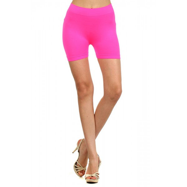 Neon Fluorescent Colored Seamless Spandex Work Out Shorts