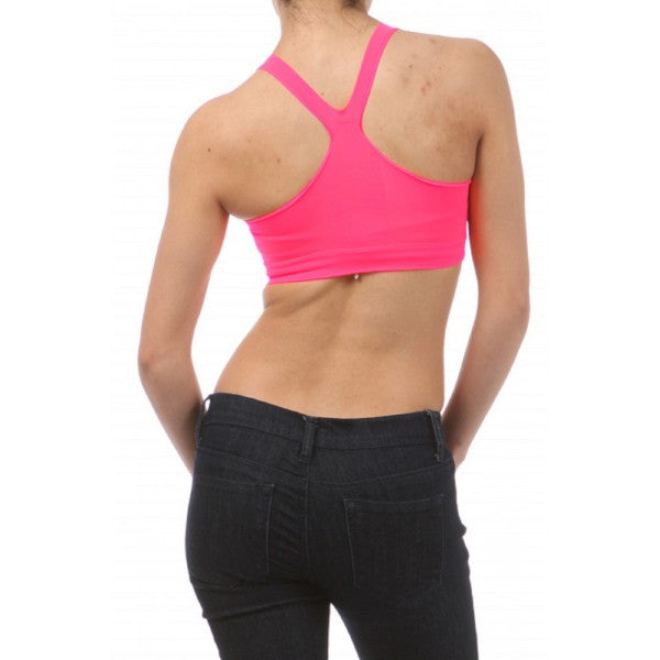 Neon Hot Pink Spandex Stretchy Seamless Athletic Sport Crop Tank Top - Neon Nation