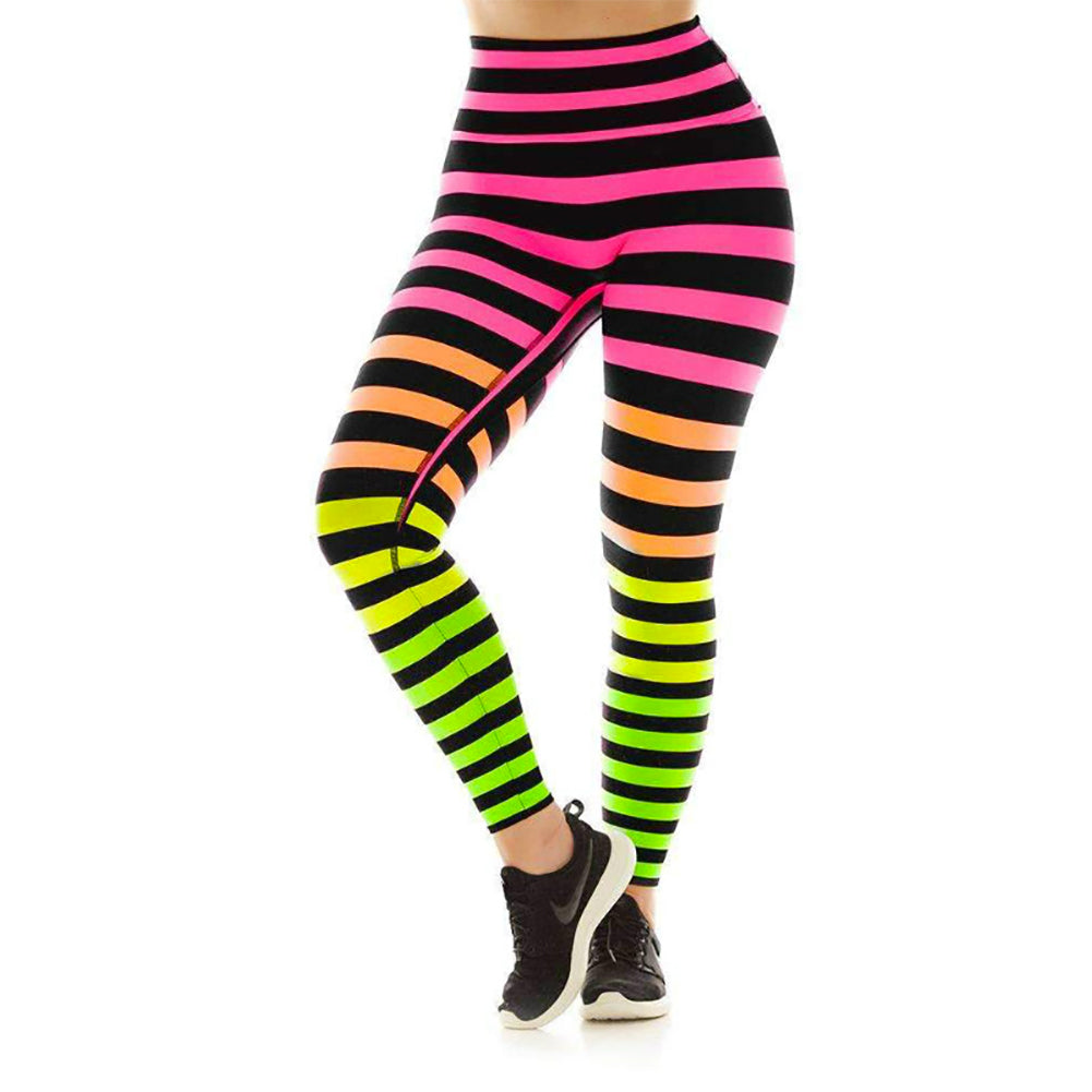 Neon Gradient Striped High Waist Leggings
