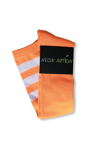 unisex adult size fluorescent neon orange knee high tube sock with three white stripes