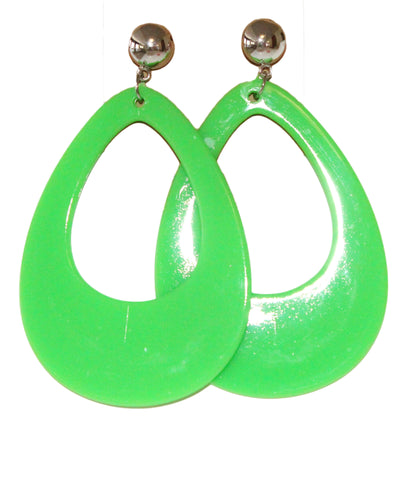Neon Nation Circular Oval Earring w/ Silver Top 1980s Costume Party - Neon Nation