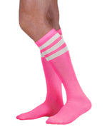Load image into Gallery viewer, Unisex adult size fluorescent neon hot pink knee high tube sock with three white stripes