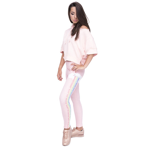 Light Pink Cloud w/ Rainbow Tears High Waist Leggings