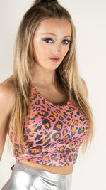 Load image into Gallery viewer, Printed Sleeveless Racerback Crop Top T-Shirt (Pink and Orange Glitter Animal Print)
