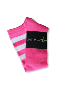 Unisex adult size fluorescent neon hot pink knee high tube sock with three white stripes