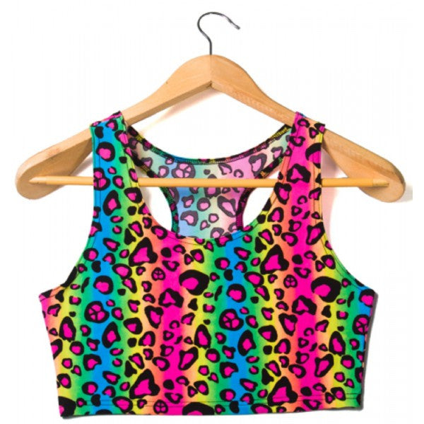 Neon Leopard Rainbow Print Sexy T-Back Tank Crop Top Animal 1980s Rave Costume