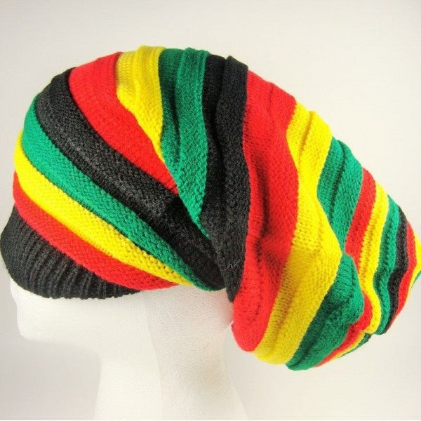Tall Baggy Style Rasta Roots Dread Knit Cap Hat Africa Reggae Jamaica Bob Marley - Neon Nation