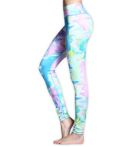 Pink/Blue Colorful Rainbow Camo Inspired Fitness Yoga High Waist Leggings