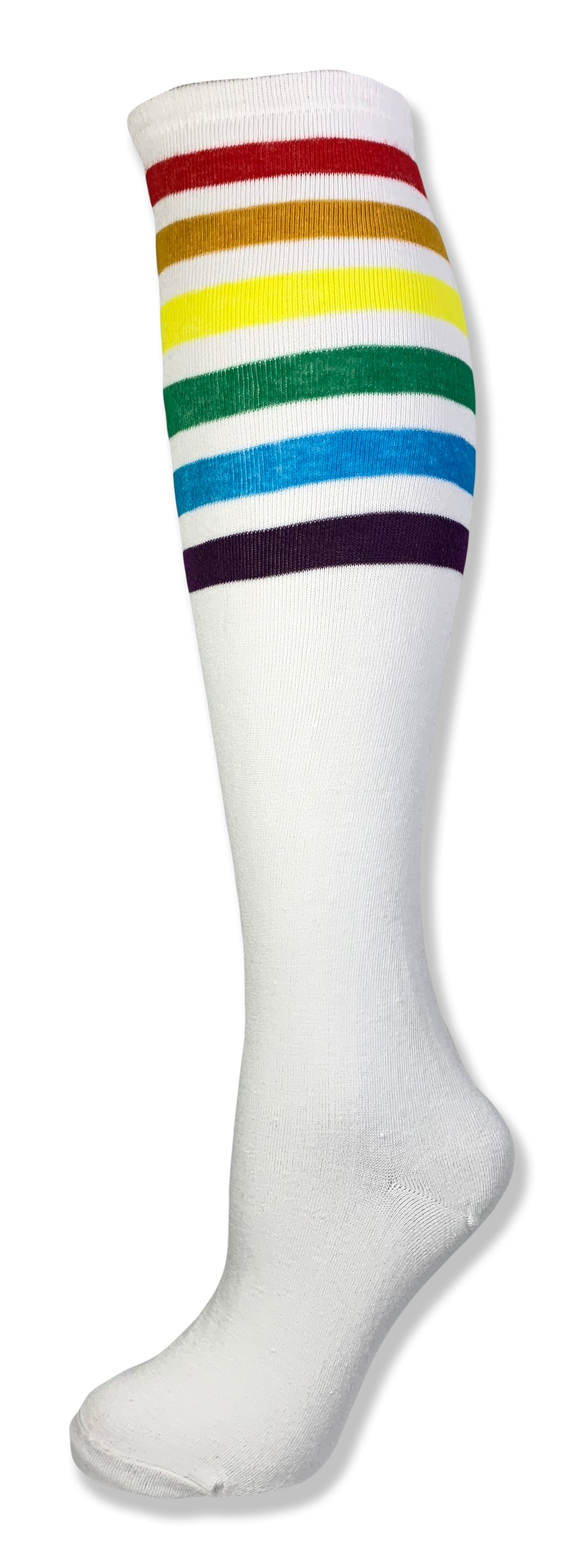 Unisex Rainbow Striped Knee High Tube Sock