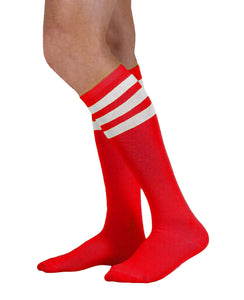 Unisex adult size red knee high tube sock with three white stripes
