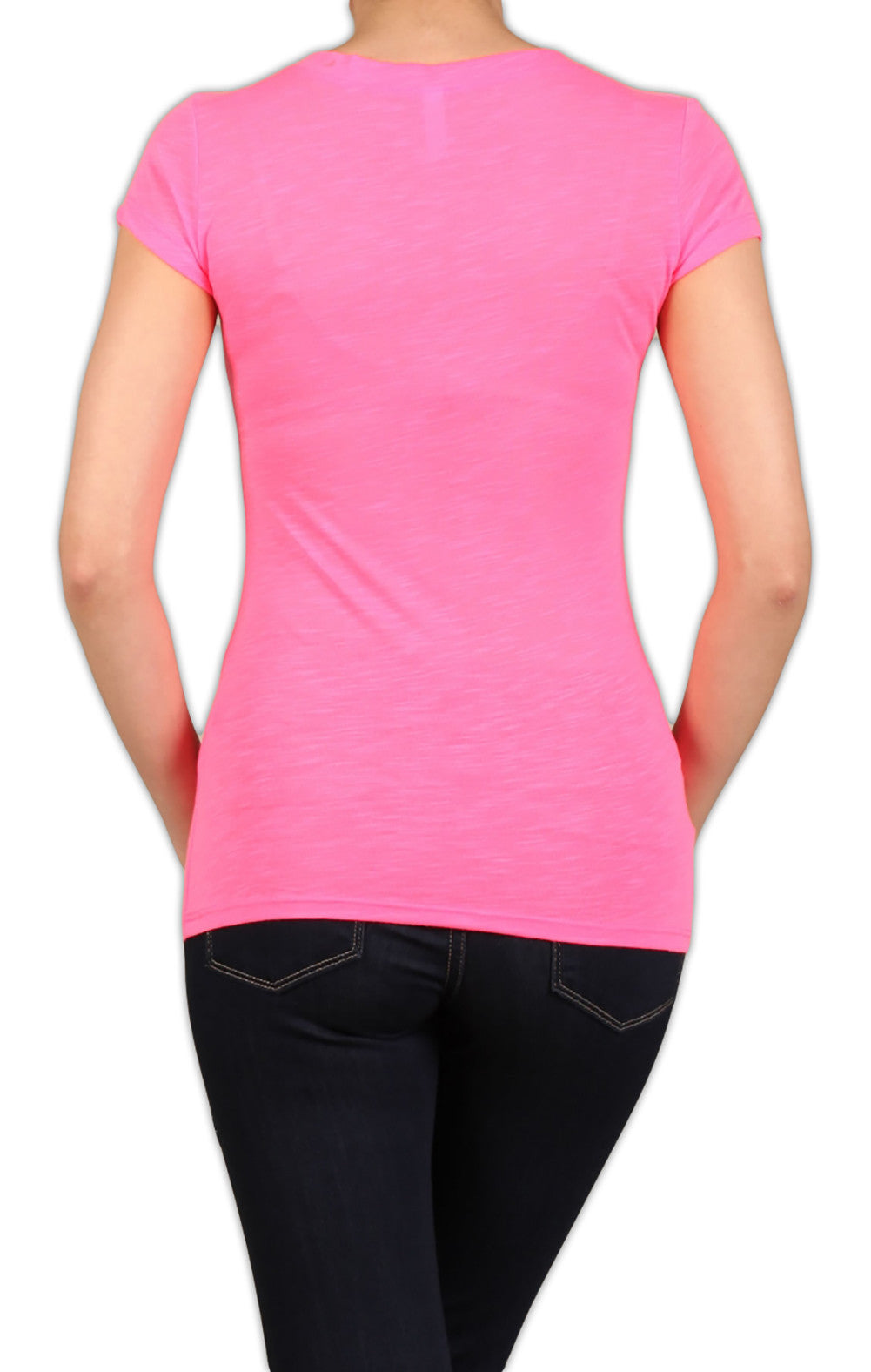 Neon Short Sleeve V-Neck Slub-Knit Women's T-Shirt - Neon Nation