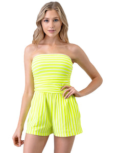 Neon Nation Casual Striped Tube Romper