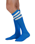 Load image into Gallery viewer, Unisex adult size royal blue knee high tube sock with three white stripes