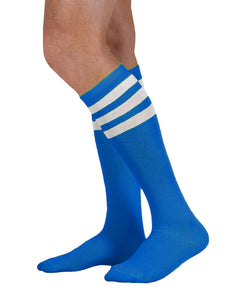 Unisex adult size royal blue knee high tube sock with three white stripes