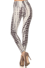 Load image into Gallery viewer, White / Gray Seashell Animal Geometrical Print Fitted Leggings Pants