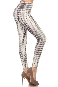 White / Gray Seashell Animal Geometrical Print Fitted Leggings Pants