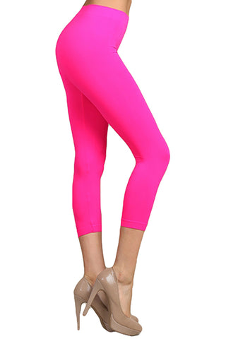 Neon Colored Capri Cut Seamless Leggings