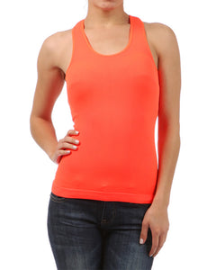 Neon Basic Rib-Knit Racerback Athletic Tank Top