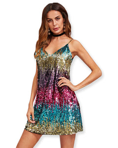 Multi Color Sequin Sexy Mini Dress