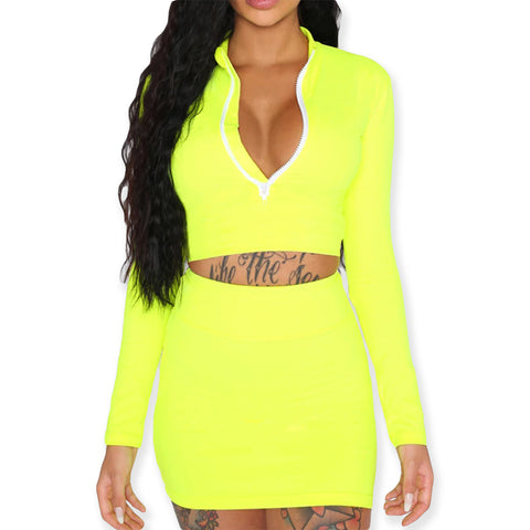 Neon Two Piece Set Long Sleeve Zipper Crop Top - Pencil Mini Skirt