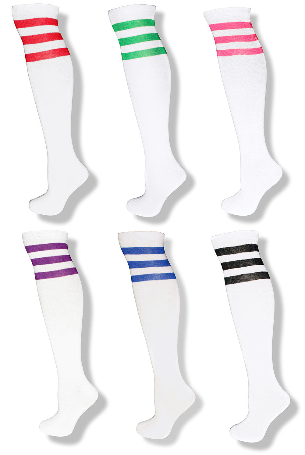 6 Pack Adult Unisex White Knee High Socks w/ Colored Stripes - Neon Nation