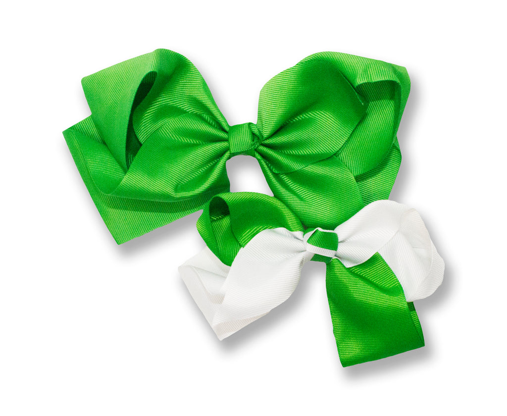 Large Green & White Saint Patricks Day Hair Bows - Neon Nation