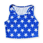 Load image into Gallery viewer, Printed Sleeveless Racerback Crop Top T-Shirt (Blue and White Star Print)