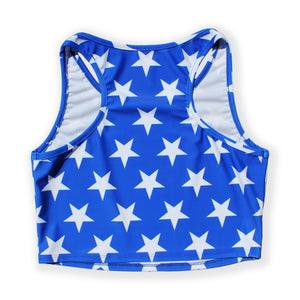 Printed Sleeveless Racerback Crop Top T-Shirt (Blue and White Star Print)