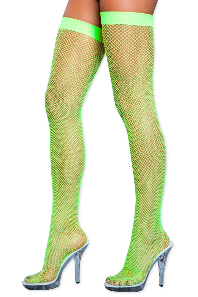 Women's Colored Fishnet Thigh High Stockings