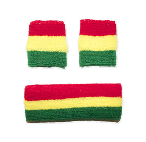 Rasta Colored Sweatbands 1 Headband + 2 Wristbands
