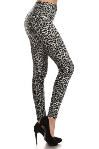 Gray Cheetah Leopard Spot Animal Print Leggings Pants - Neon Nation