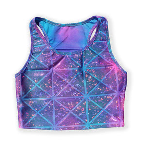 Printed Sleeveless Racerback Crop Top T-Shirt (Blue and Purple Glitter Triangle Print)