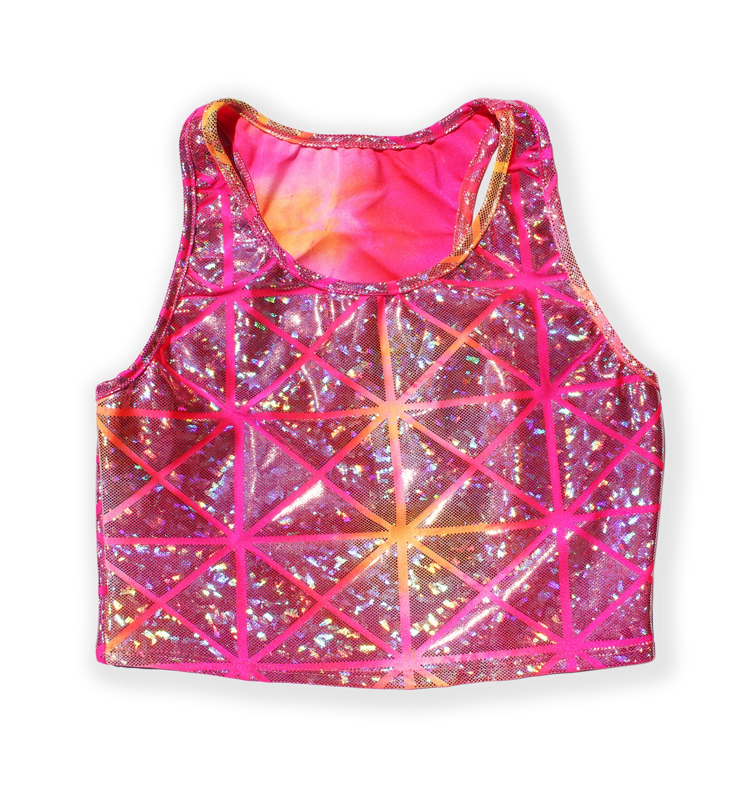 Printed Sleeveless Racerback Crop Top T-Shirt (Pink and Orange Glitter Triangle Print)