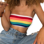 Load image into Gallery viewer, Rainbow Stripe Pattern Crop Tube Top