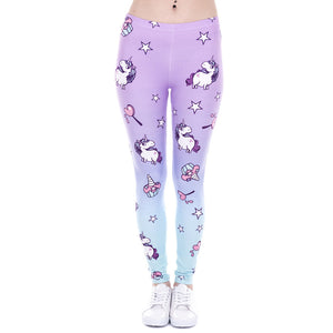 Purple Blue Ombre Unicorn & Stars Print Pattern Leggings
