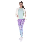 Load image into Gallery viewer, Purple Blue Ombre Unicorn & Stars Print Pattern Leggings