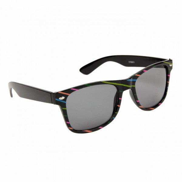 Rainbow Colored Striped Wayfarer Style Sunglasses - Neon Nation