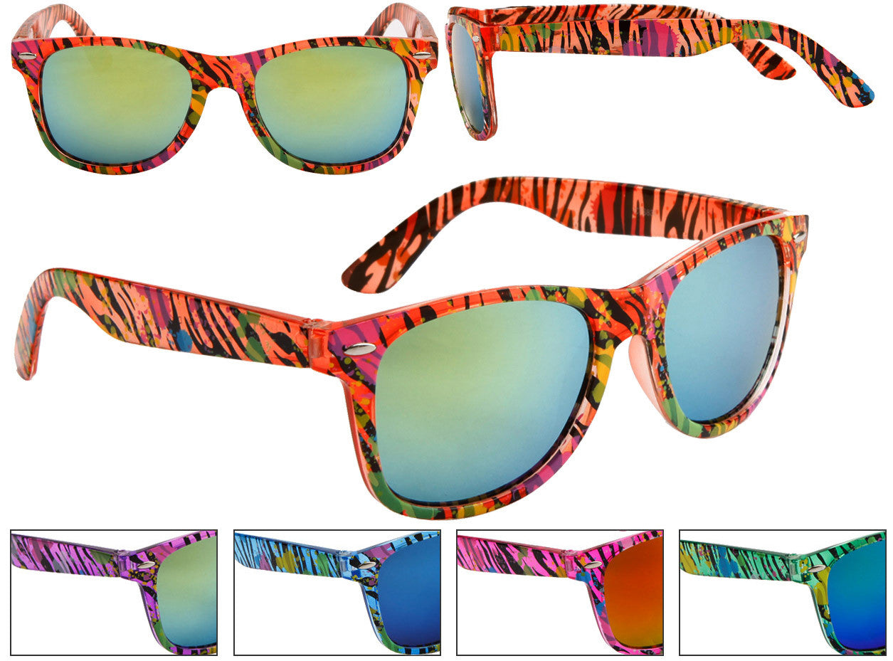 Neon Zebra Print w/ Splattered Paint Mirrored Wayfarer Sunglasses