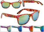 Load image into Gallery viewer, Neon Zebra Print w/ Splattered Paint Mirrored Wayfarer Sunglasses