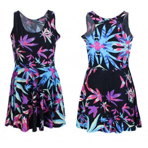 Neon Purple Pink & Blue Weed Marijuana Leaf Print Mini Dress Quality Spandex - Neon Nation