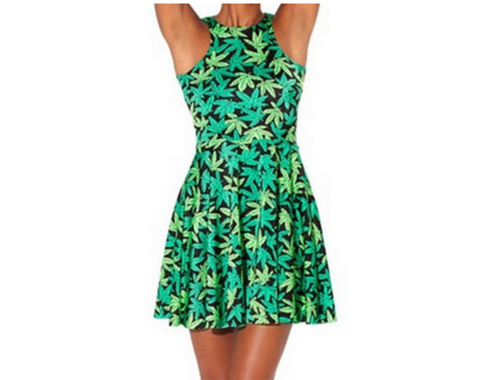 Neon Nation Green Weed Marijuana Print Pleated Short Dress - Neon Nation