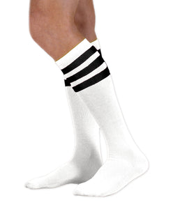 Unisex adult size white knee high tube sock with three black stripes