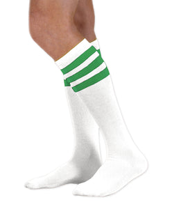 Unisex adult size white knee high tube sock with three kelly green stripes