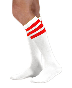 Unisex adult size white knee high tube sock with three red stripes