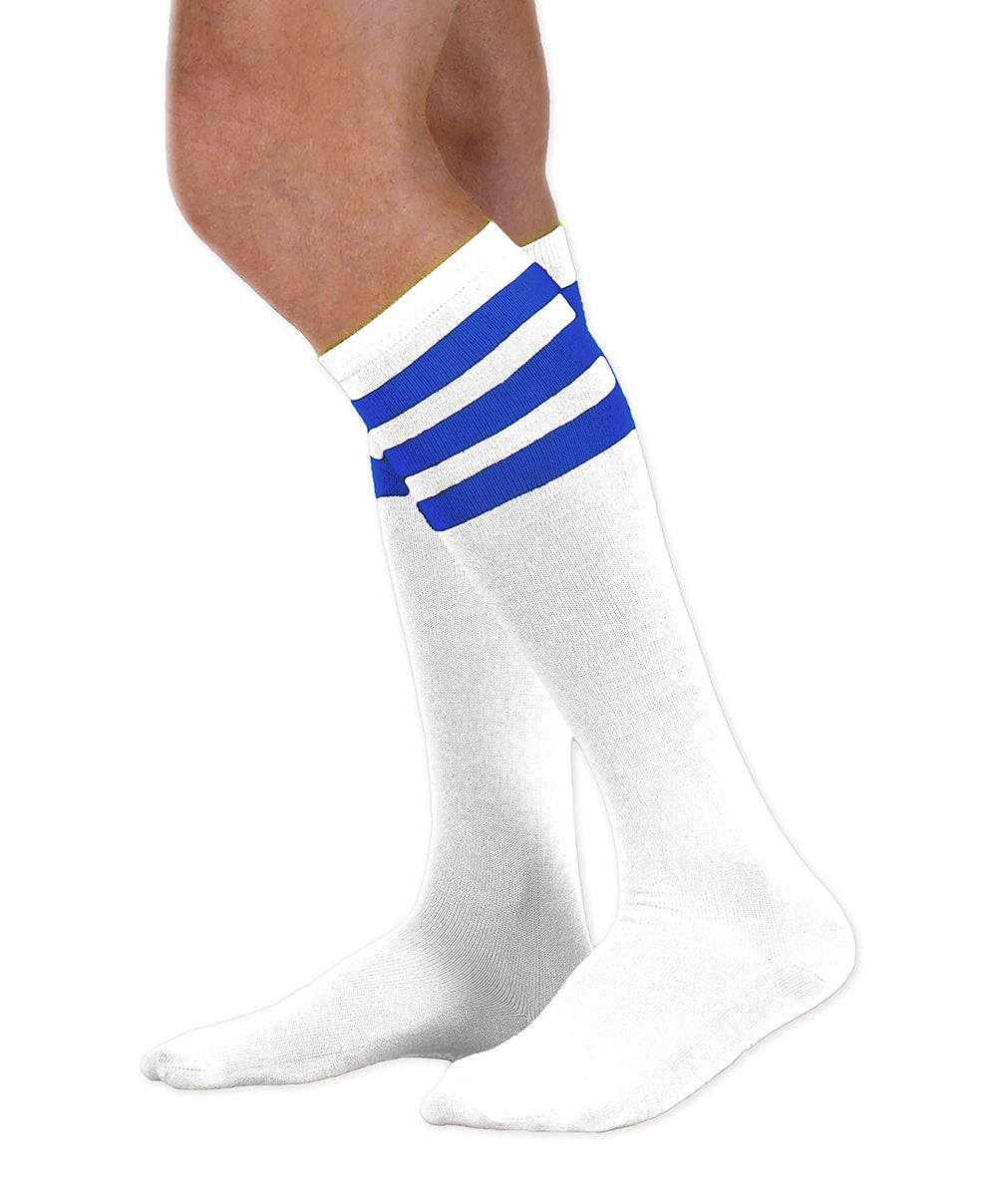 Unisex adult size white knee high tube sock with three royal blue stripes