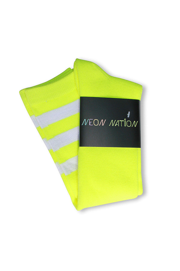 Unisex adult size fluorescent neon yellow knee high tube sock with three white stripes