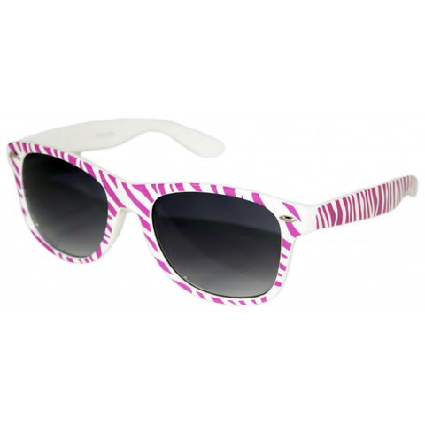 Zebra Print w/ Colored Kisses Graphic Print Wayfarer Sunglasses w/ Black Lens