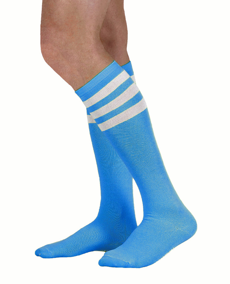 unisex adult size neon blue knee high tube sock with three white stripes