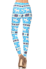 Load image into Gallery viewer, Light Baby Blue Christmas Snow Flake Fair Isle Pattern Leggings