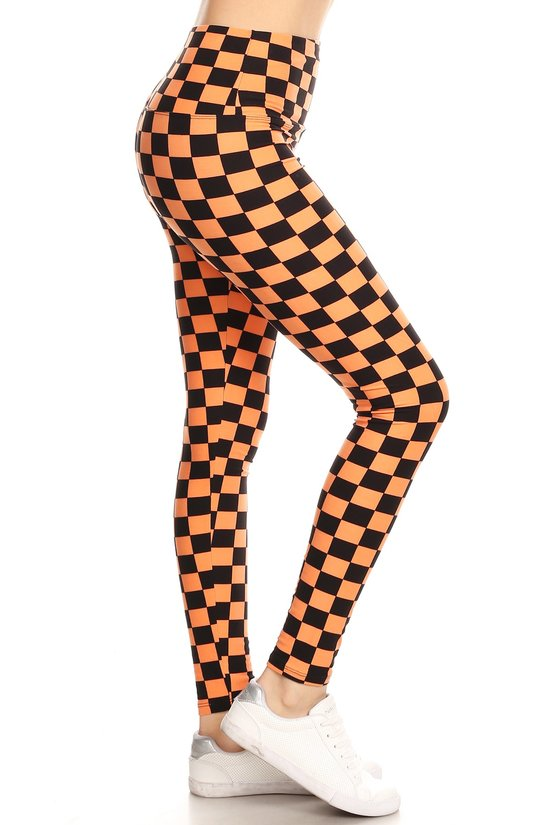 Neon Checkered Pattern Leggings w/ Banded Waist